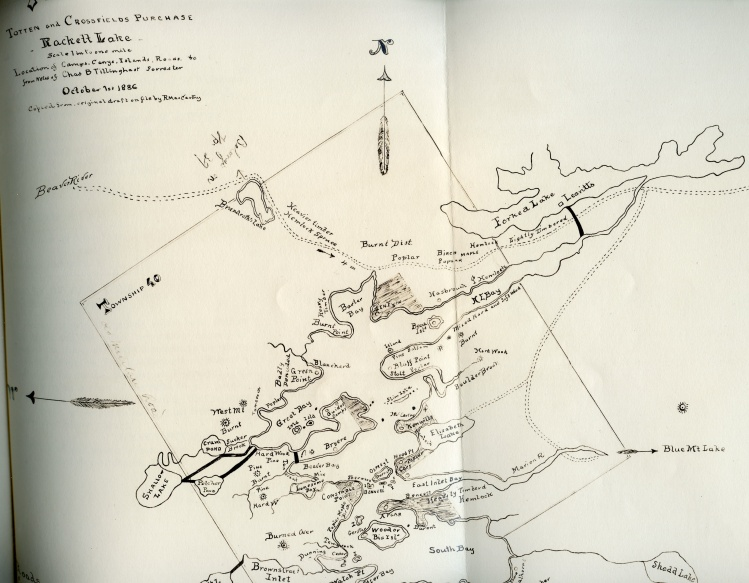 Survey  Map Raquette Lake in 1886 shows the Thacher property in gray but no structure on the point.