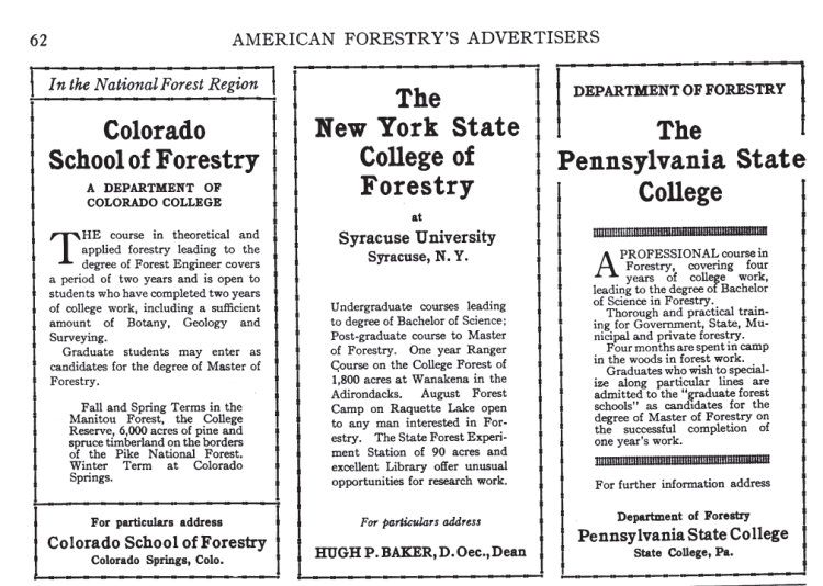 1916 American Forestry ad
