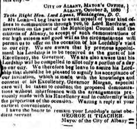 Albany Argus October 16, 1860